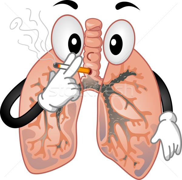 Maskot sigara içme örnek sigara tıbbi sağlık Stok fotoğraf © lenm