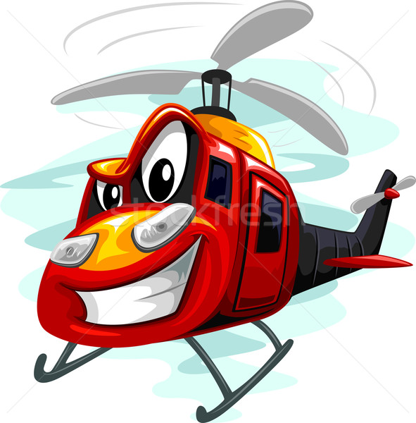 Mascotte aanval helikopter illustratie leger cartoon Stockfoto © lenm