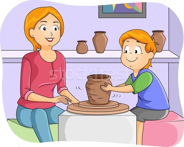 Gyerek fiú tanul cserépedények illusztráció kicsi Stock fotó © lenm