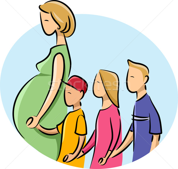Girl Pregnant Children Stock photo © lenm