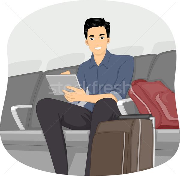Férfi repülőtér társalgó illusztráció számítógéphasználat tabletta Stock fotó © lenm