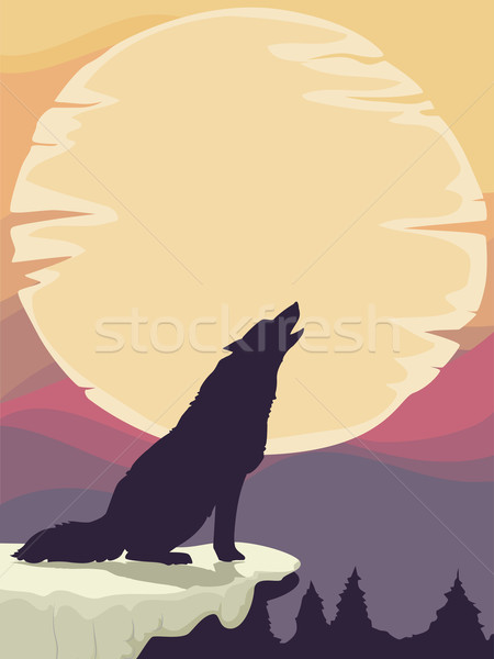 Wolf Silhouette Moon Stock photo © lenm