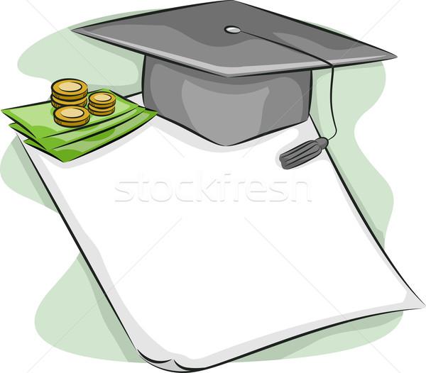 Studente prestito illustrazione laurea cap seduta Foto d'archivio © lenm