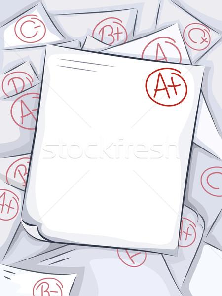 Test Paper Grades Stock photo © lenm