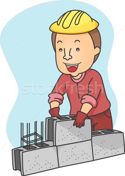 Férfi üreges kockák illusztráció építkezés keret Stock fotó © lenm