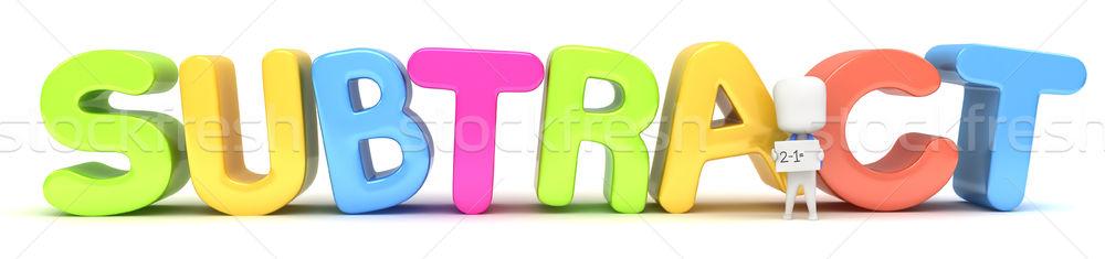 Odejmowanie 3d ilustracji dziecko flash karty Zdjęcia stock © lenm
