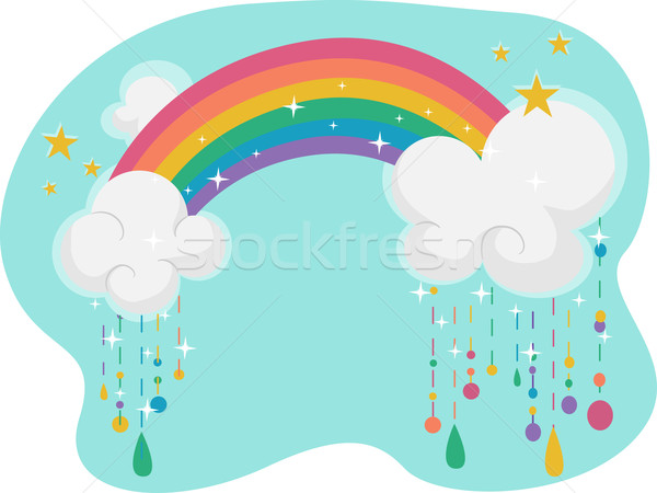 Rainbow illustration ciel pluie bleu cartoon Photo stock © lenm