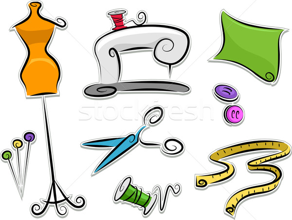 Dressmaking Stickers Design Elements Stock photo © lenm