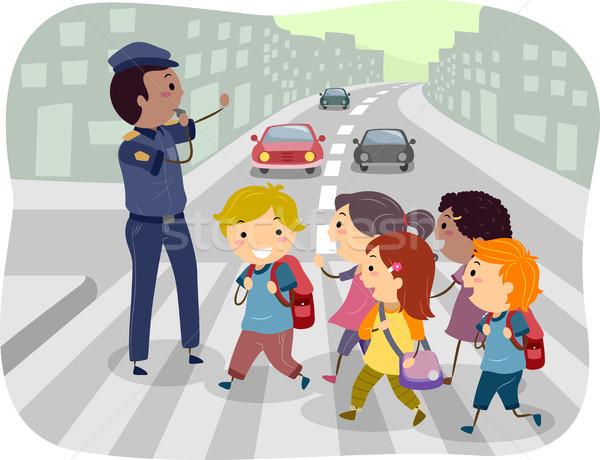 Kids Crossing the Street Stock photo © lenm