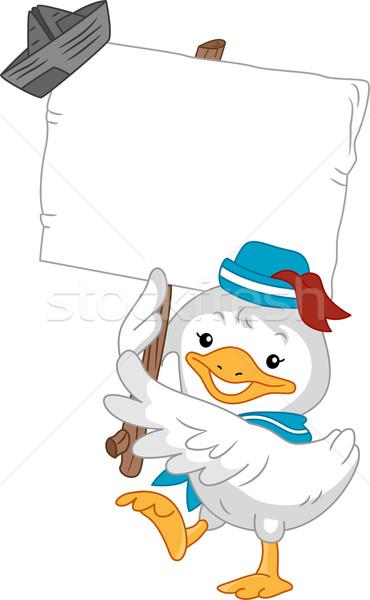 Zdjęcia stock: Kaczka · marynarz · pokładzie · ilustracja · papieru
