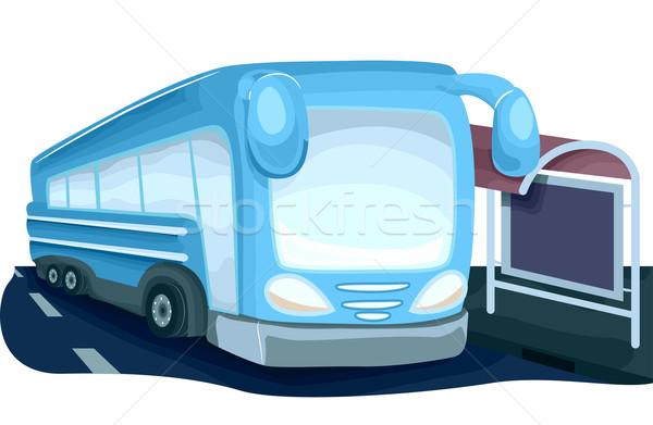Przystanek autobusowy ilustracja nowoczesne patrząc autobus obok Zdjęcia stock © lenm
