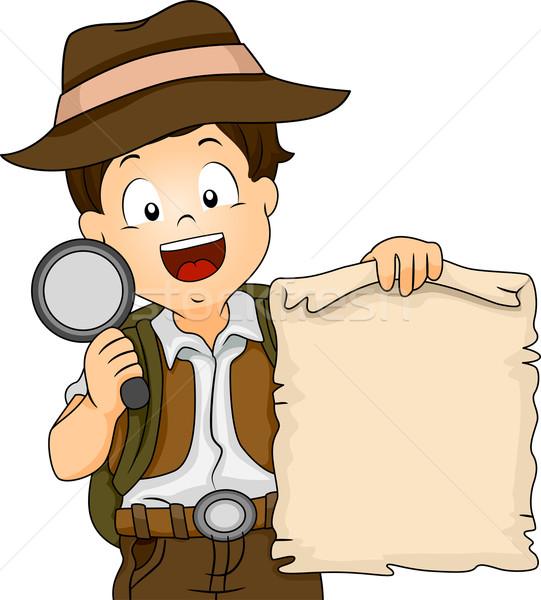 Tesouro caça menino ilustração camping engrenagem Foto stock © lenm