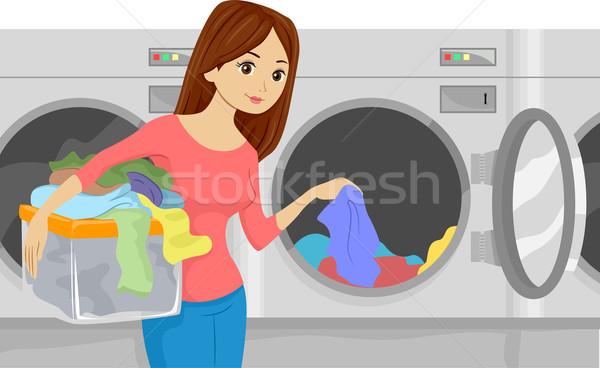 Laundromat Girl Stock photo © lenm