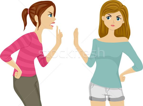 Ruzie tieners illustratie twee vrouwelijke tieners Stockfoto © lenm