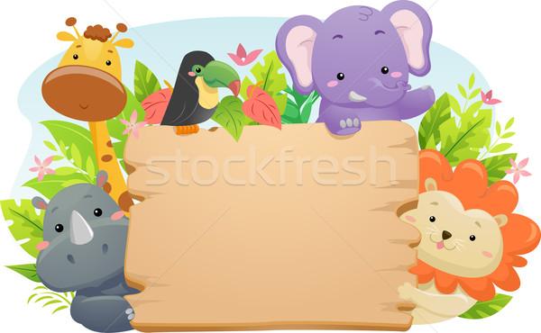 Safari dier teken illustratie cute safari dieren Stockfoto © lenm