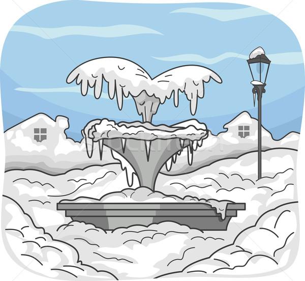 Frozen Water Fountain Stock photo © lenm