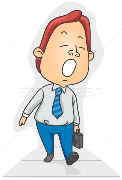 álmos üzletember sétál munka vágási körvonal rajz Stock fotó © lenm