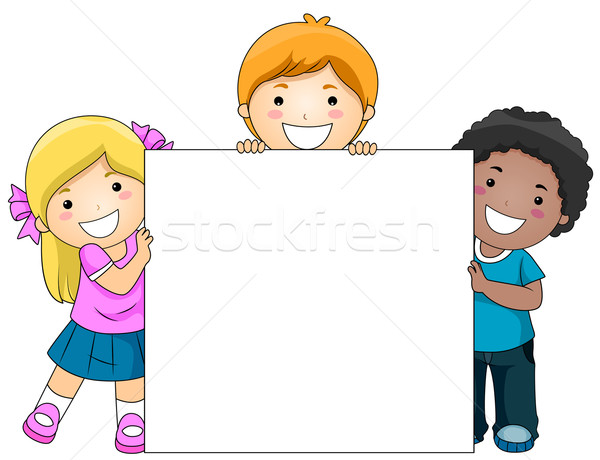Stock photo: Kids with Blank Board