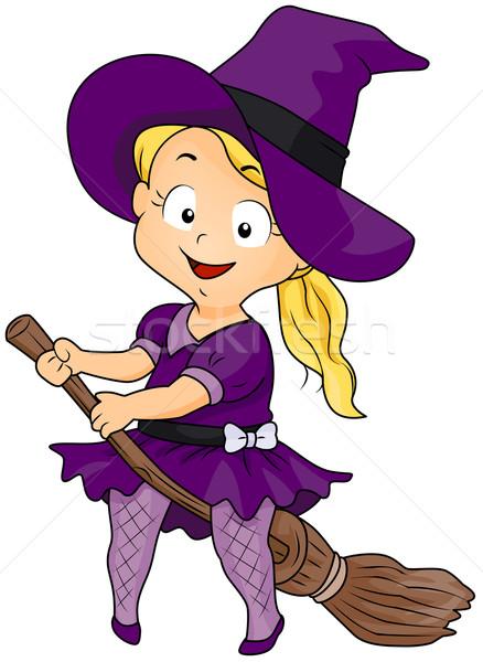 Bruxa cabo de vassoura ilustração menina traje equitação Foto stock © lenm