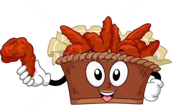 Mascotte voedsel buffalo wings illustratie emmer kunst Stockfoto © lenm
