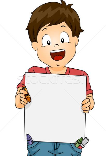 Criança menino prancheta ilustração pequeno Foto stock © lenm