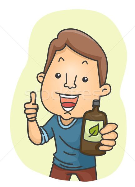 Man alternatieve geneeskunde illustratie fles Stockfoto © lenm