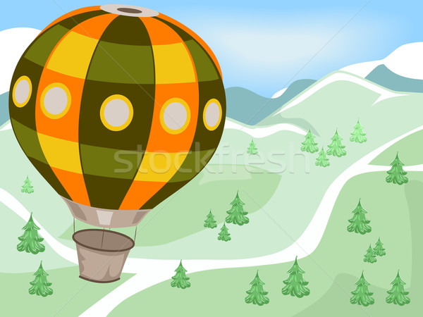 熱気球 山 実例 飛行 風景 山 ストックフォト © lenm