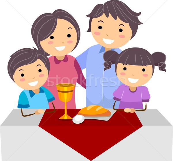 Сток-фото: пасху · иллюстрация · семьи · женщину · вино
