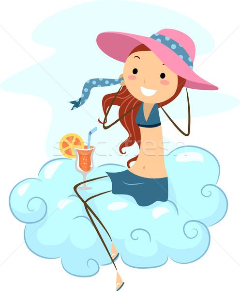 Cloud Girl Stock photo © lenm