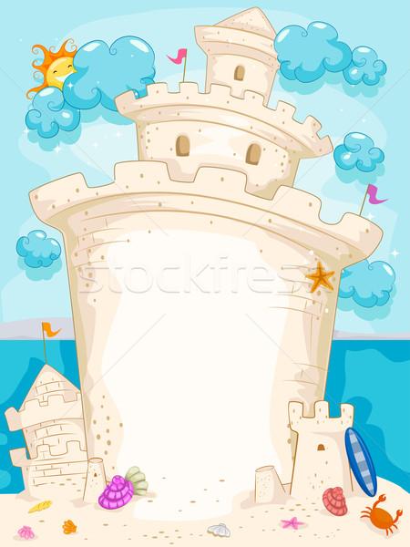 Homokvár illusztráció tenger háttér nyár óceán Stock fotó © lenm
