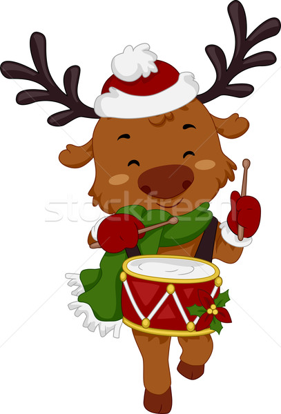 Trommelaar rendier illustratie spelen drums dier Stockfoto © lenm