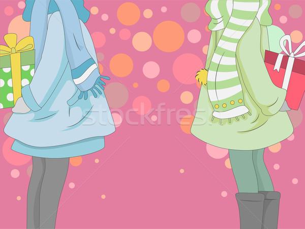 Uitwisseling geschenken illustratie meisjes ontwerp achtergrond Stockfoto © lenm