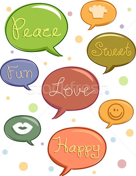 Foto stock: Discurso · balões · palavras · ilustração · ícones · diversão
