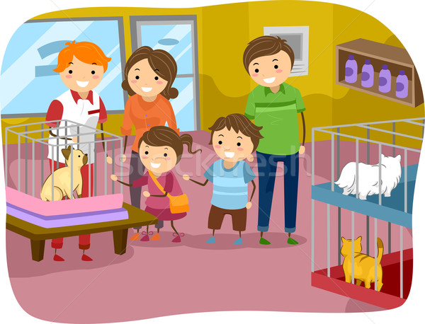Stock photo: Stickman Family Buying a Cat From a Pet Store