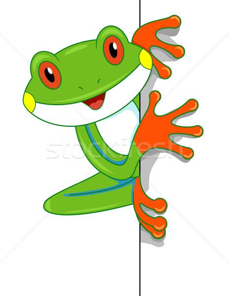 Boomkikker boord illustratie cute naar kikker Stockfoto © lenm