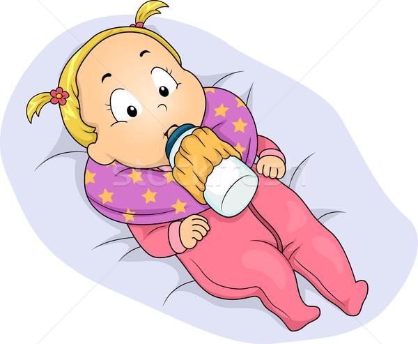 Baby Girl Milk Bottle Holder Stock photo © lenm