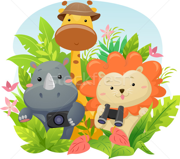 Safari aventure illustration cute animaux de safari jungle Photo stock © lenm