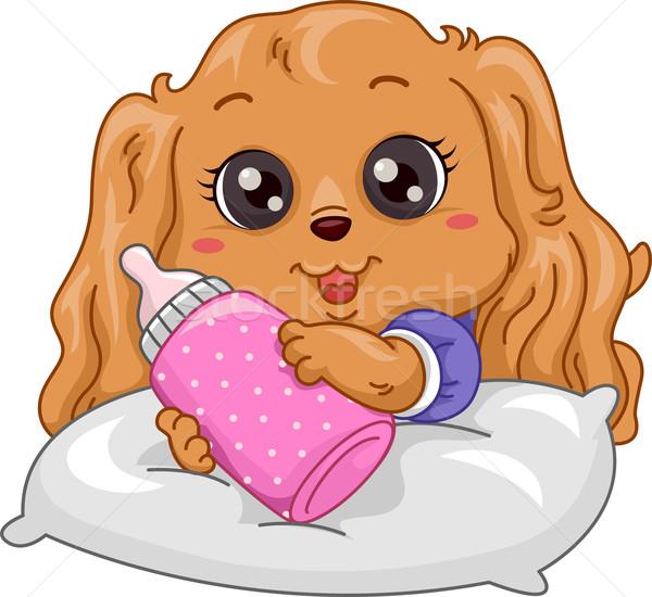 Puppy Milk Bottle Stock photo © lenm