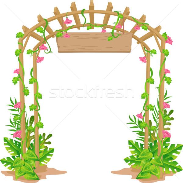 приветствую арки иллюстрация саду лозы изолированный Сток-фото © lenm