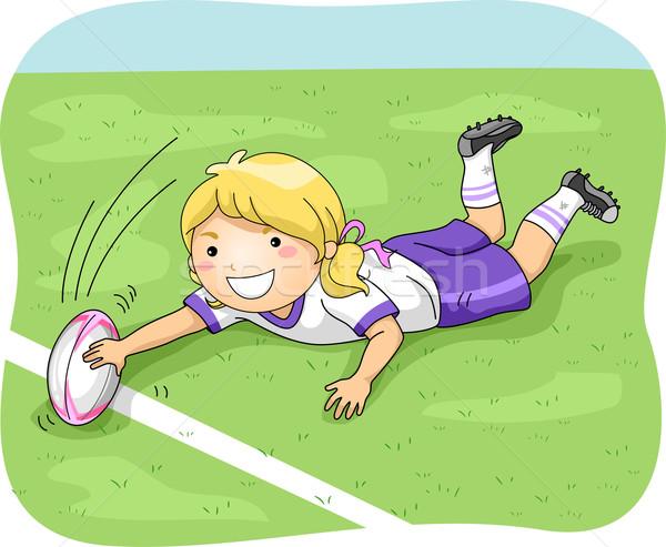 регби цель иллюстрация женщины игрок спортивных Сток-фото © lenm