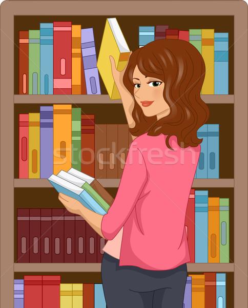 Kitap kız örnek kütüphane kitaplar Stok fotoğraf © lenm