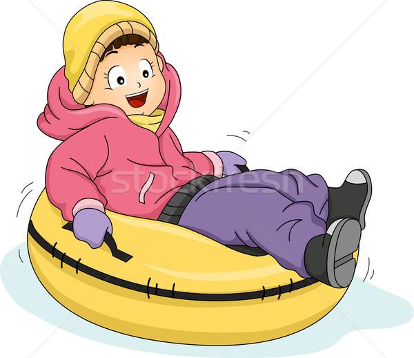 Neve tubulação ilustração little girl equitação tubo Foto stock © lenm