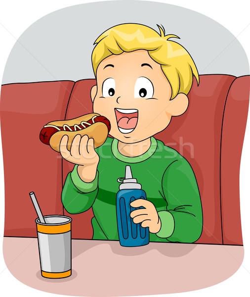 Hotdog szendvics illusztráció fiú eszik étel Stock fotó © lenm