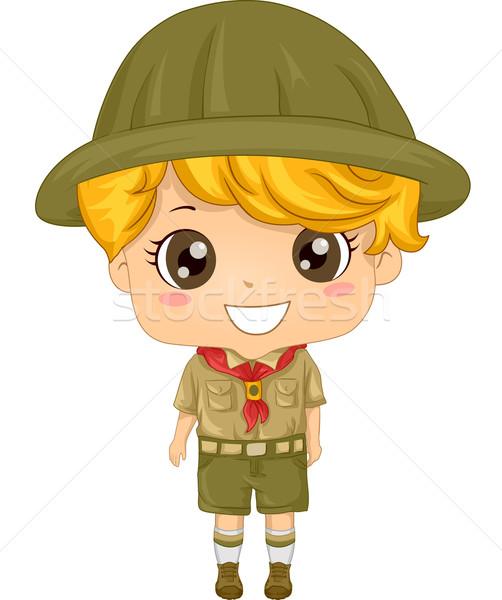 Gyerek fiú felderítő illusztráció kicsi visel Stock fotó © lenm