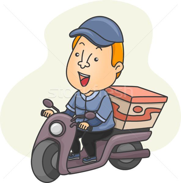 Mensajero conducción ilustración masculina paquete Foto stock © lenm