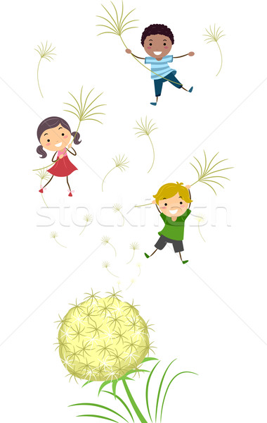 Dandelion Kids Stock photo © lenm