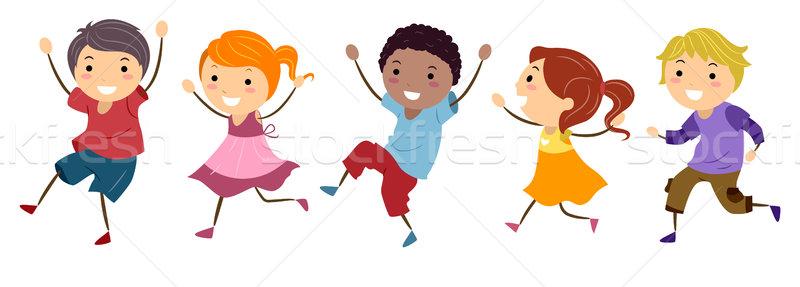 Skipping Kids Stock photo © lenm