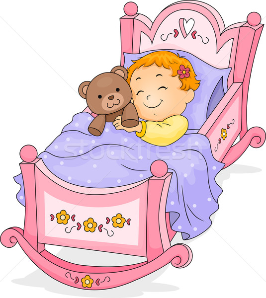 Baby Girl on Cradle Stock photo © lenm