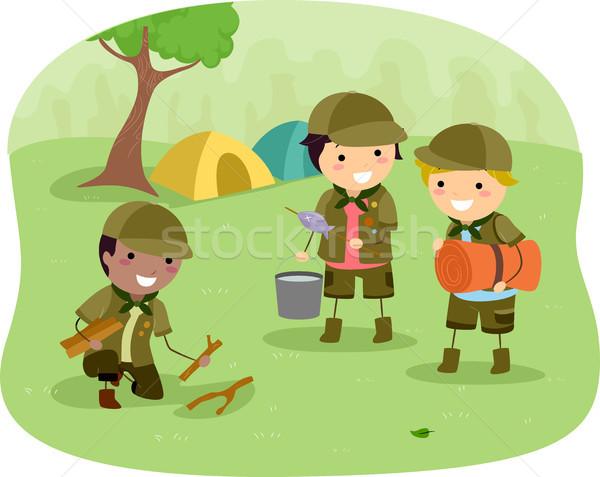 Сток-фото: кемпинга · иллюстрация · мало · детей · ребенка · мальчика