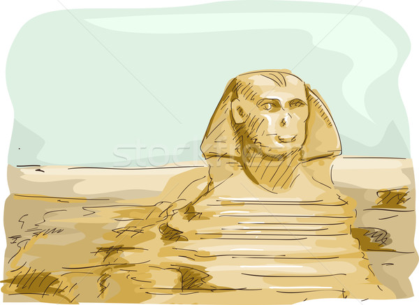 Египет иллюстрация Великий Сфинкс Гизе путешествия Cartoon Сток-фото © lenm